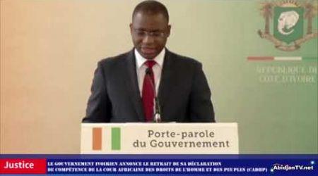 LA COTE D'IVOIRE RETIRE SA DÉCLARATION DE COMPÉTENCE DE LA CADHP